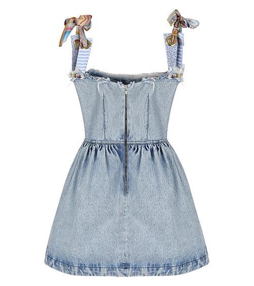 Assel Mini Denim Dress front view
