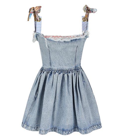 Assel Mini Denim Elbise önden görünümü