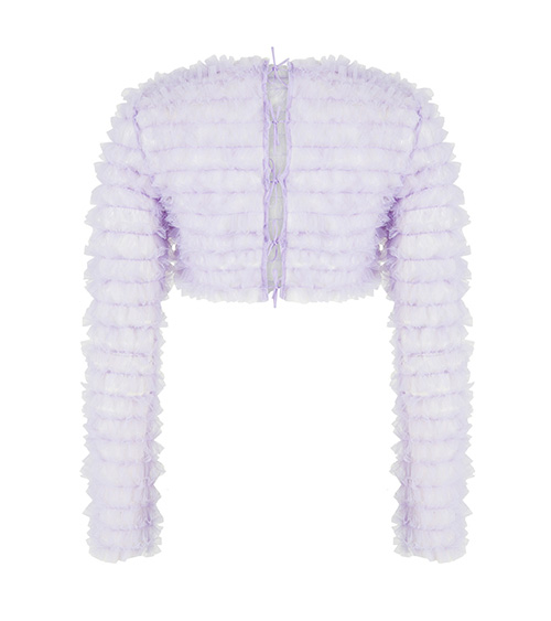 Ruffled Tulle Crop Top lilac front view