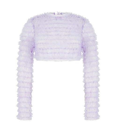 Ruffled Tulle Crop Lila Bluz önden görünümü