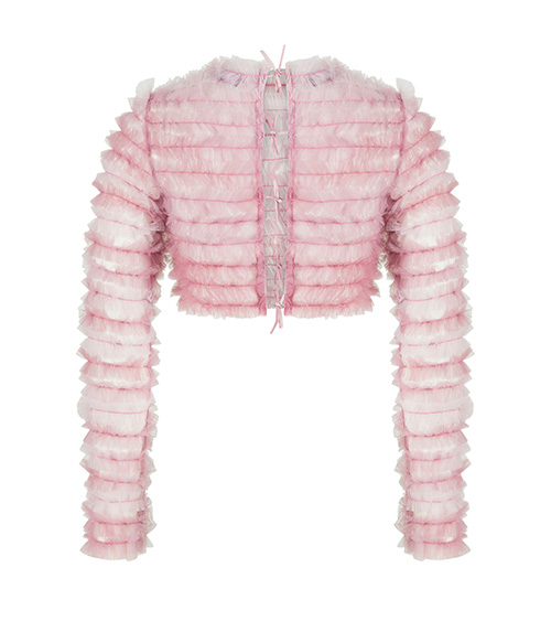 Ruffled Tulle Crop Top pink back view
