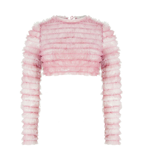 Ruffled Tulle Crop Top pink front view