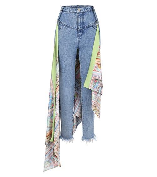 Scarf Detailed Denim Pantolon önden görünüm