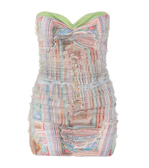 Shirr Detailed Jelly Tots Mini Elbise önden görünümü