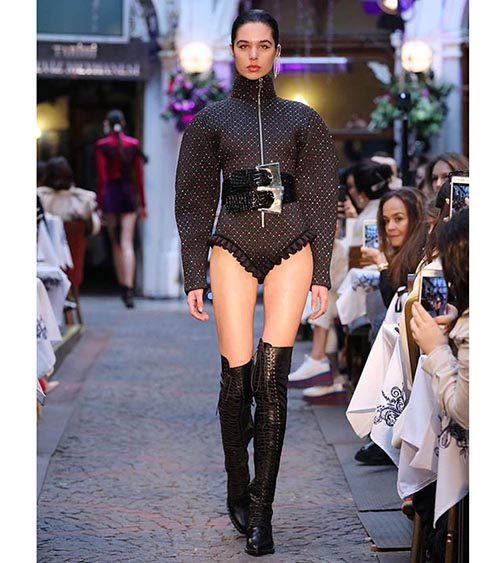 Sparkling Zippered Bodysuit model view