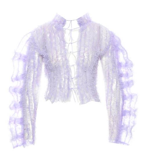 Turtleneck Ruffled Tulle Bluz arkadan görünüm