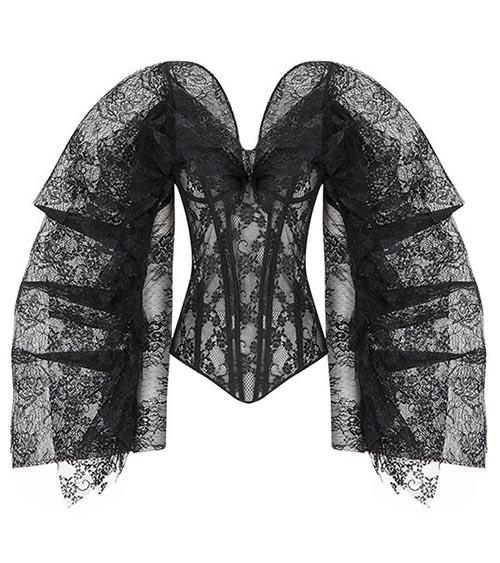Winged Sleeve Lace Bluz arkadan görünümü
