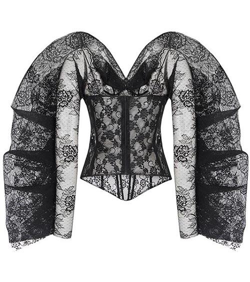 Winged Sleeve Lace Bluz önden görünümü