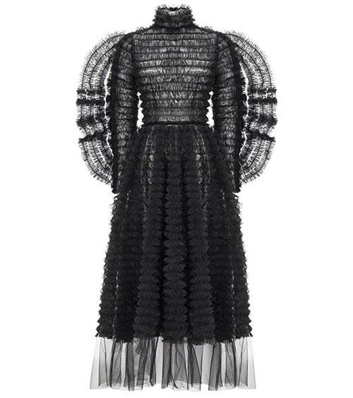 Winged Sleeve Ruffle Midi Elbise önden görünümü
