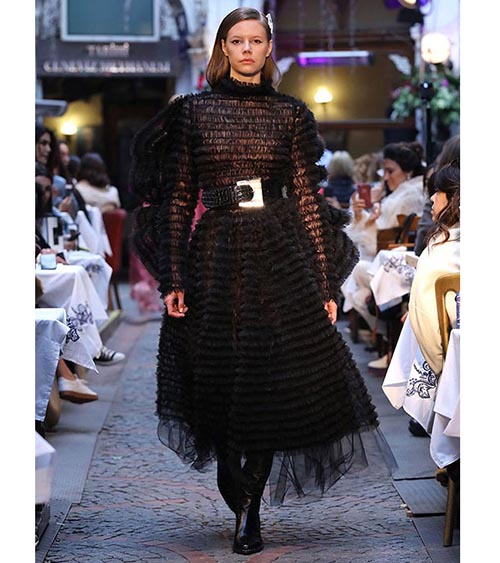 Winged Sleeve Ruffle Midi Dress model view
