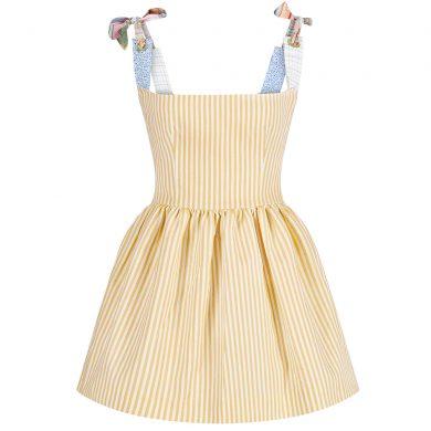 Assel Mini Poplin turuncu elbise önden görünümü
