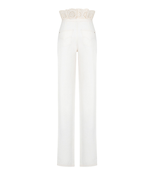 Embroidered Denim Ruffled Trousers back view