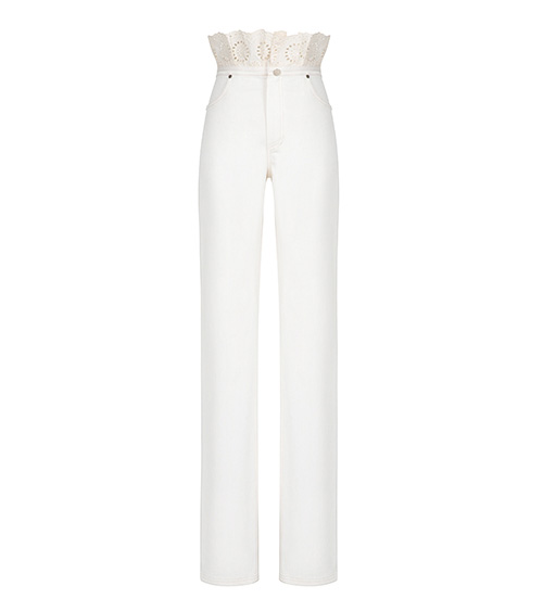 Embroidered Denim Ruffled Trousers front view