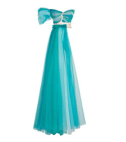 Flounce Tulle Asymetric Elbise önden görünümü
