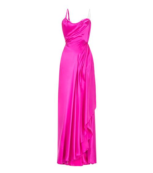 Helen Silk Satin Elbise önden görünümü