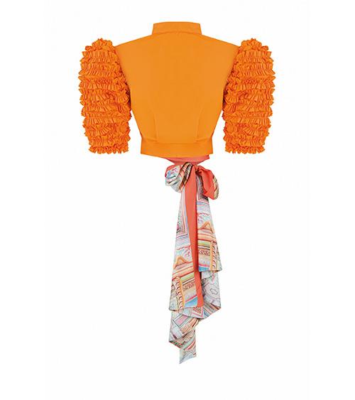 Orange Scarf Mini Jacket front view