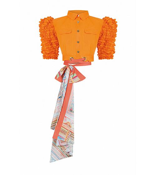 Orange Scarf Mini Ceket önden görünümü