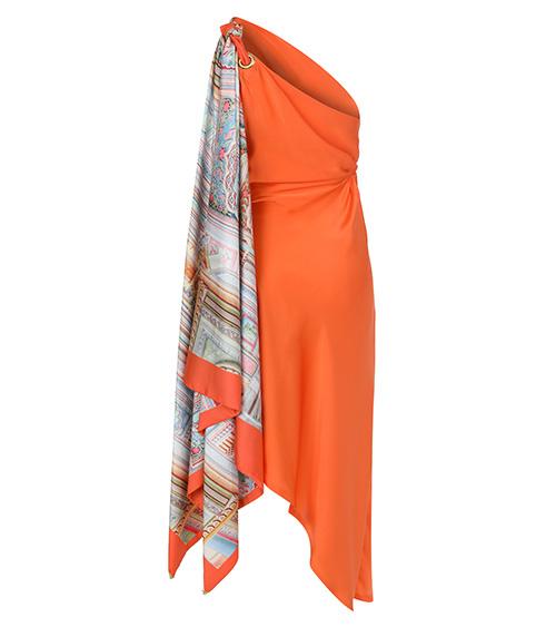 Orange Scarf Silk Elbise arkadan görünümü