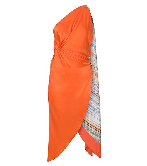 Orange Scarf Silk Elbise önden görünümü