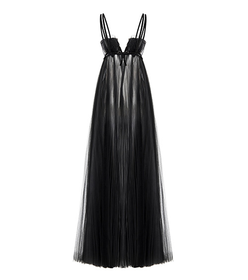 Oyster Shell Maxi Tulle Dress back view