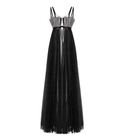 Oyster Shell Maxi Tulle Elbise önden görünümü