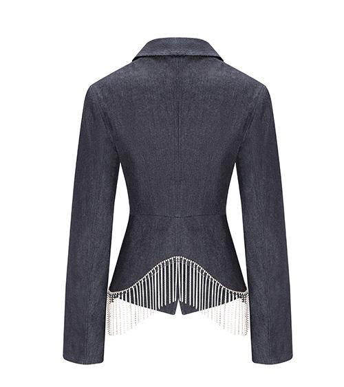 Raw Denim Wrap Ceket önden görünümü