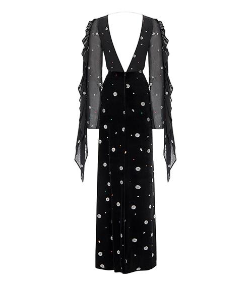 Sheenful V Neck Long Elbise arkadan görünümü