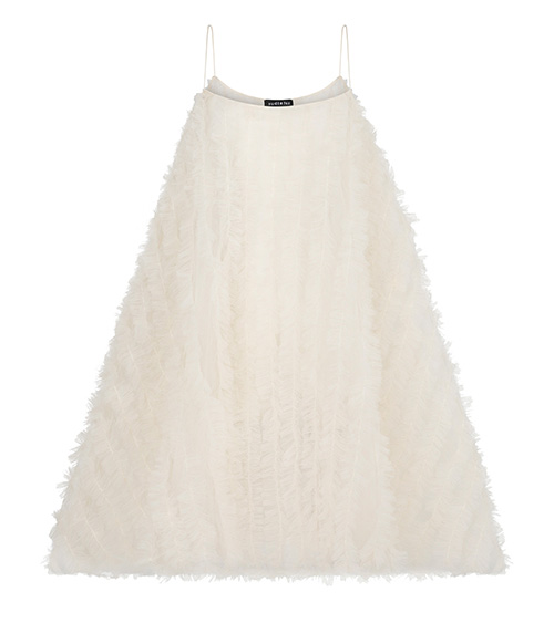 Turtleneck Ruffled A-line Elbise önden görünümü