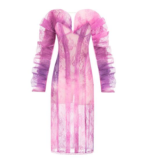 Winged Sleeve Lace Midi Elbise önden görünümü
