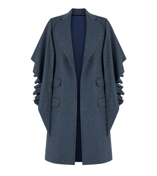 navy draped back jacket front view