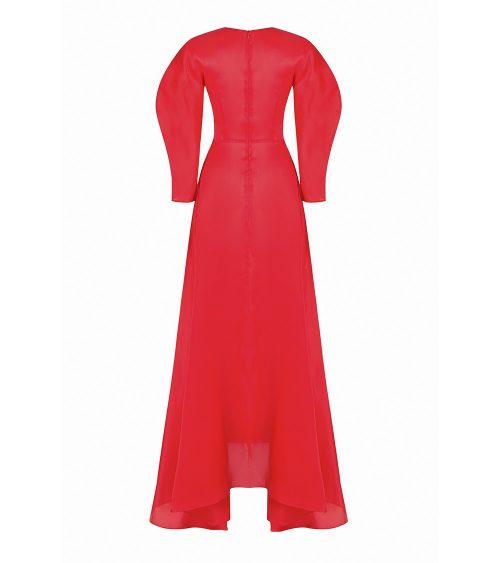 red wind silk night dress back view
