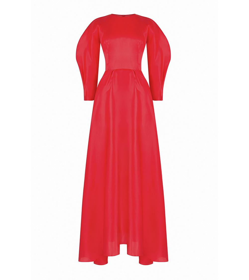 Red Wind Silk Night elbise önden görünümü