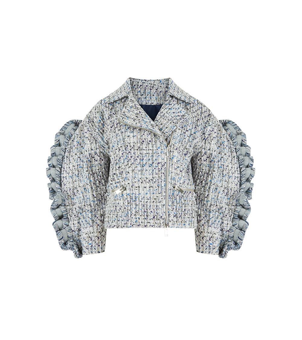 Tweed Biker Ceket önden görünümü