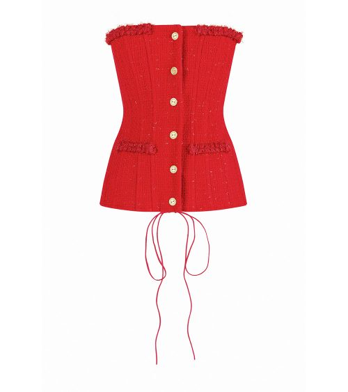 tweed fitted corset front view