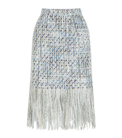 tweed fringe skirt front view