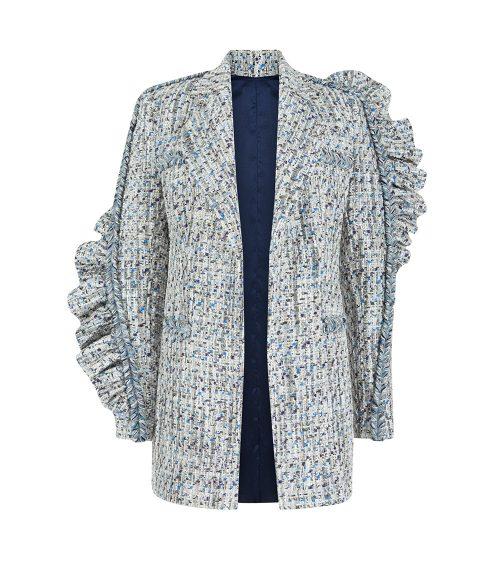 tweed midi jacket front view
