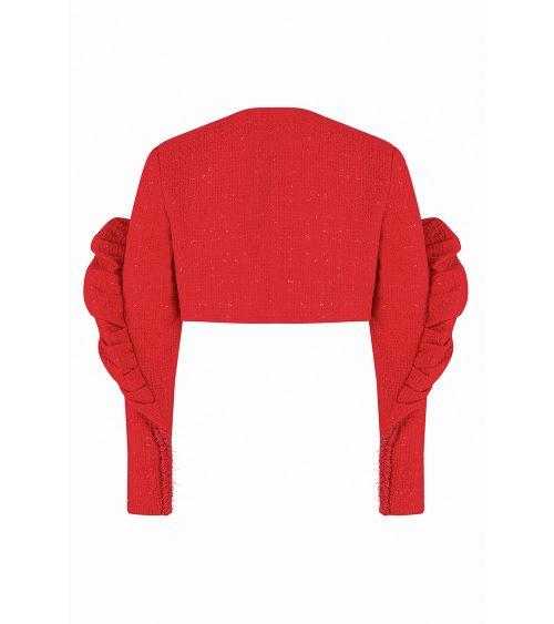 Tweed Volume Crop Blazer arkadan görünümü