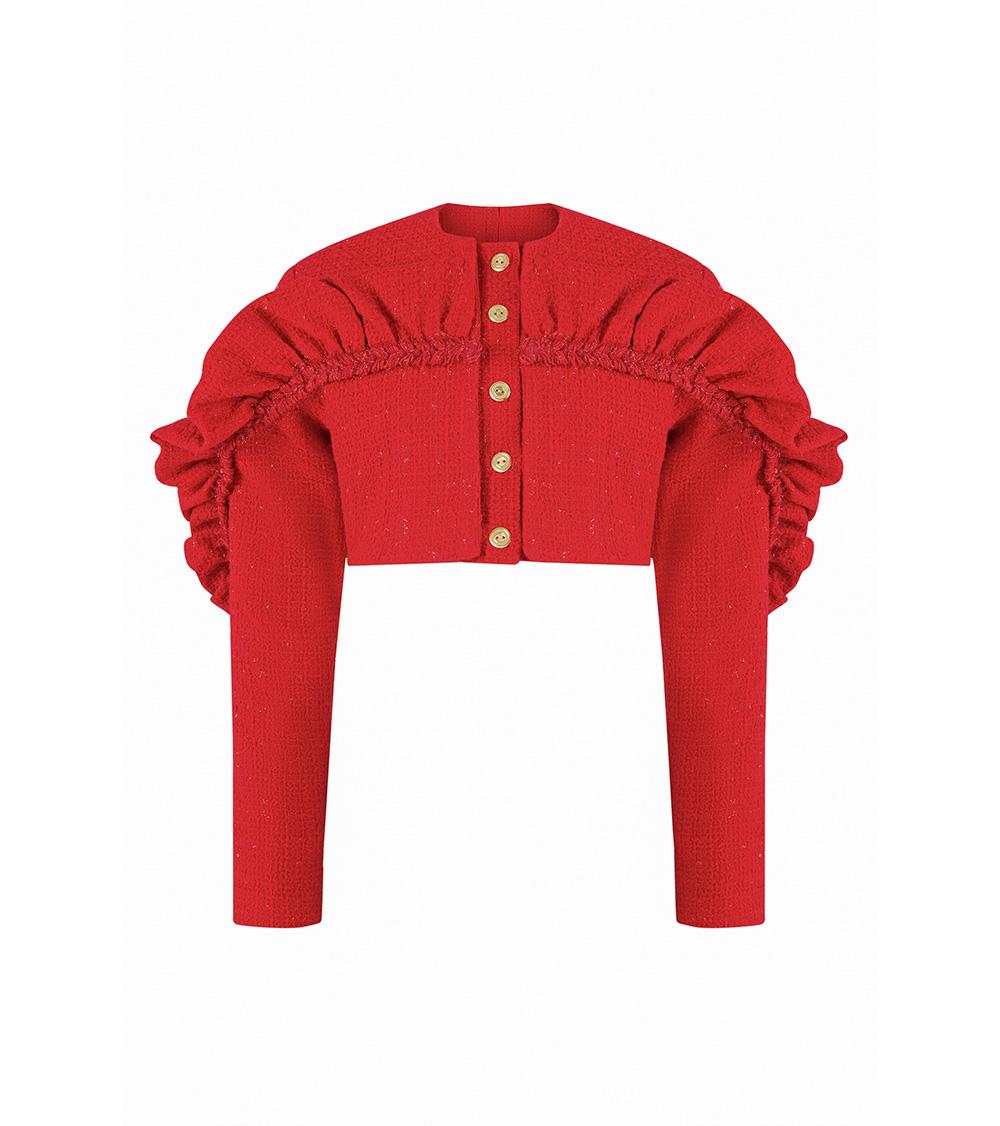 Tweed Volume Crop Blazer önden görünümü