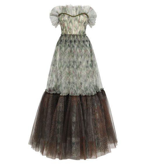 Alexa Jungle Printed Tulle Elbise önden görünümü