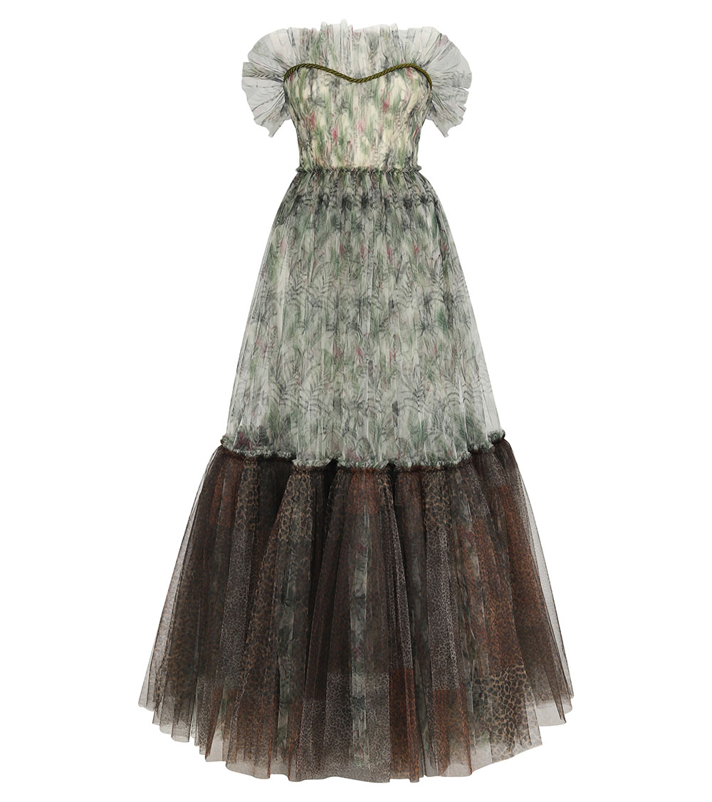 Alexa Jungle Printed Tulle Dress front view