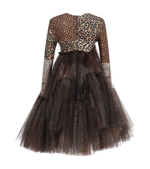 Assymetric Leopard Print Elbise önden görünümü