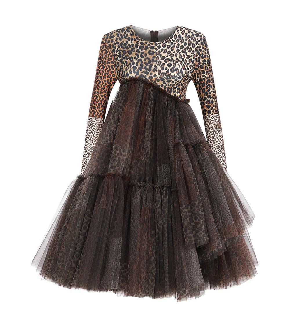 Assymetric Leopard Print Dress front view