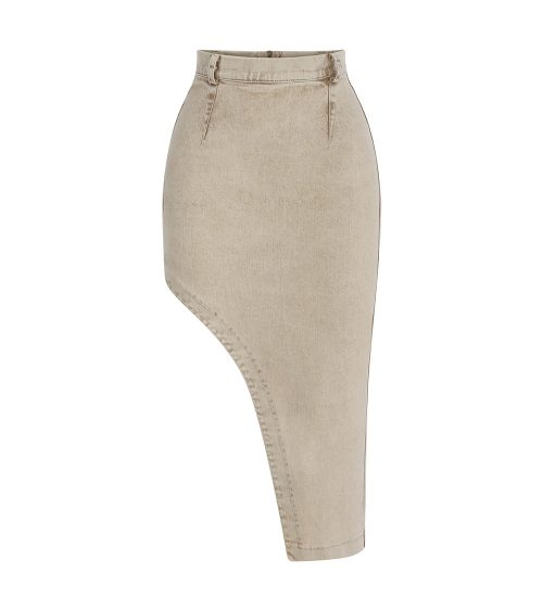 Assymetric Safari Denim Skirt front view