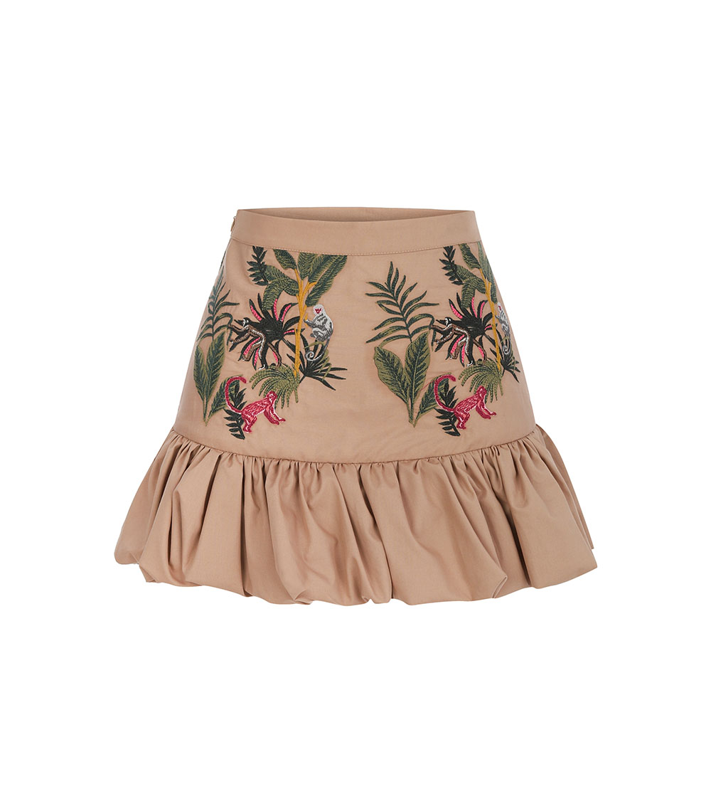 Embroidered Jungle Skirt front view