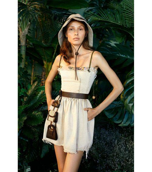 Assel Safari Denim Dress model view