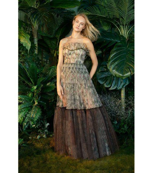 Alexa Jungle Printed Tulle Elbise manken üzerinde görünümü
