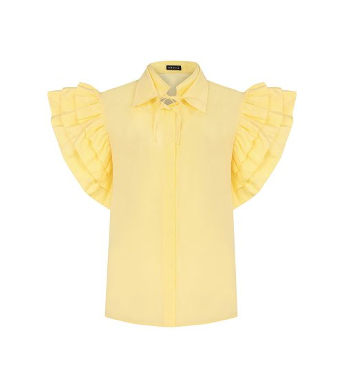 lantern ruffled shirt front view