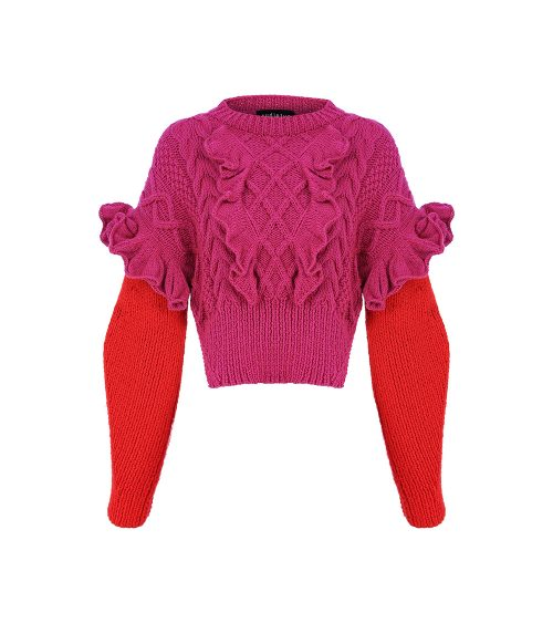 pink lantern sweater front view